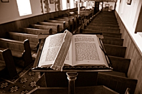 open-bible-empty-pews
